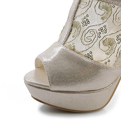 Allhqfashion Donna Peep Toe Fibbia Materiali Materiali Solidi Sandali Tacchi Alti Oro