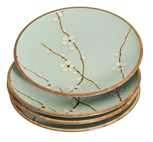 M.V. Trading MQ210BPS4V Japanese Cherry Blossom Round Dinner Plates Set, Light Blue, Set of 4 Plates, 10 (DIA.) x 1-3/8 (H) Inches ()