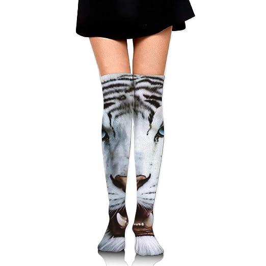 437843deb27 PIHJE Socks Long 50cm Women s Tube Stockings White Tiger Over The Knee  Athletic Women Sexy High