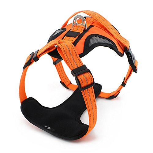 Grand Line Reflective No Pull Dog Harness, Front Range Padded Pet Vest Orange M Section Heavy Duty Range