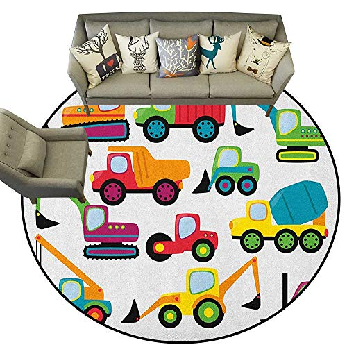 Construction,Carpets Cute Style Vehicles and Heavy Equipment Forklift Earthmover Excavator Mixer D66 Modern Round Area Rug -  ParadiseDecor