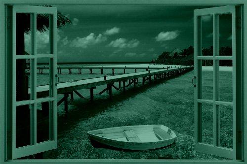 Window to Paradise Beach, Amazing Canvas Wall Art, 5 Stars Gift Startonight 23.62 X 35.43 Inch