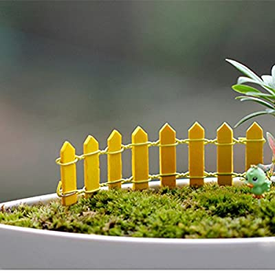 Shiningup 20PCS/bag Mini Simulation Small Fence Barrier Wooden Resin Craft Miniature Fairy Garden Accessory Microcosmic Landscape Decor
