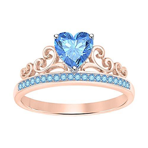 tusakha Women Tiara Princess Promise Heart Crown Ring Blue Topaz 18k Rose Gold Over