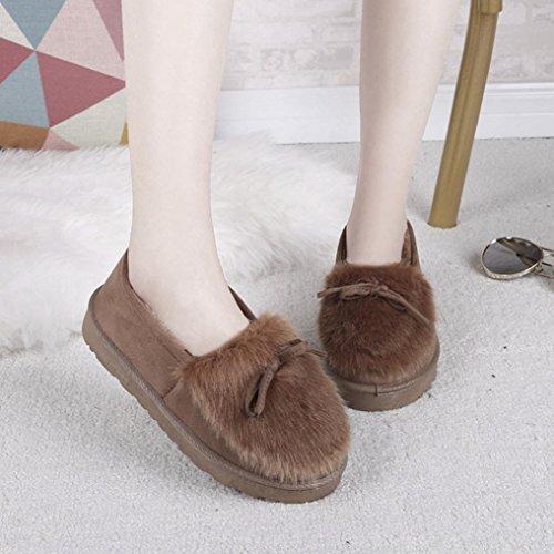 Bottes Dhiver Pour Femmes, Egmy Femmes Cheville Plat Fourrure Doublée Hiver Chaud Chaussures De Neige Paresseux Chaussures Marron