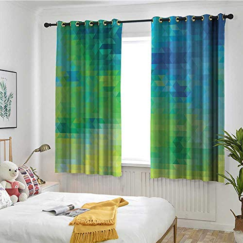 MaryMunger Green and Blue Window Curtains Geometric Abstract Pattern with Triangles Ombre Inspired Great for Living Rooms & Bedrooms W 55