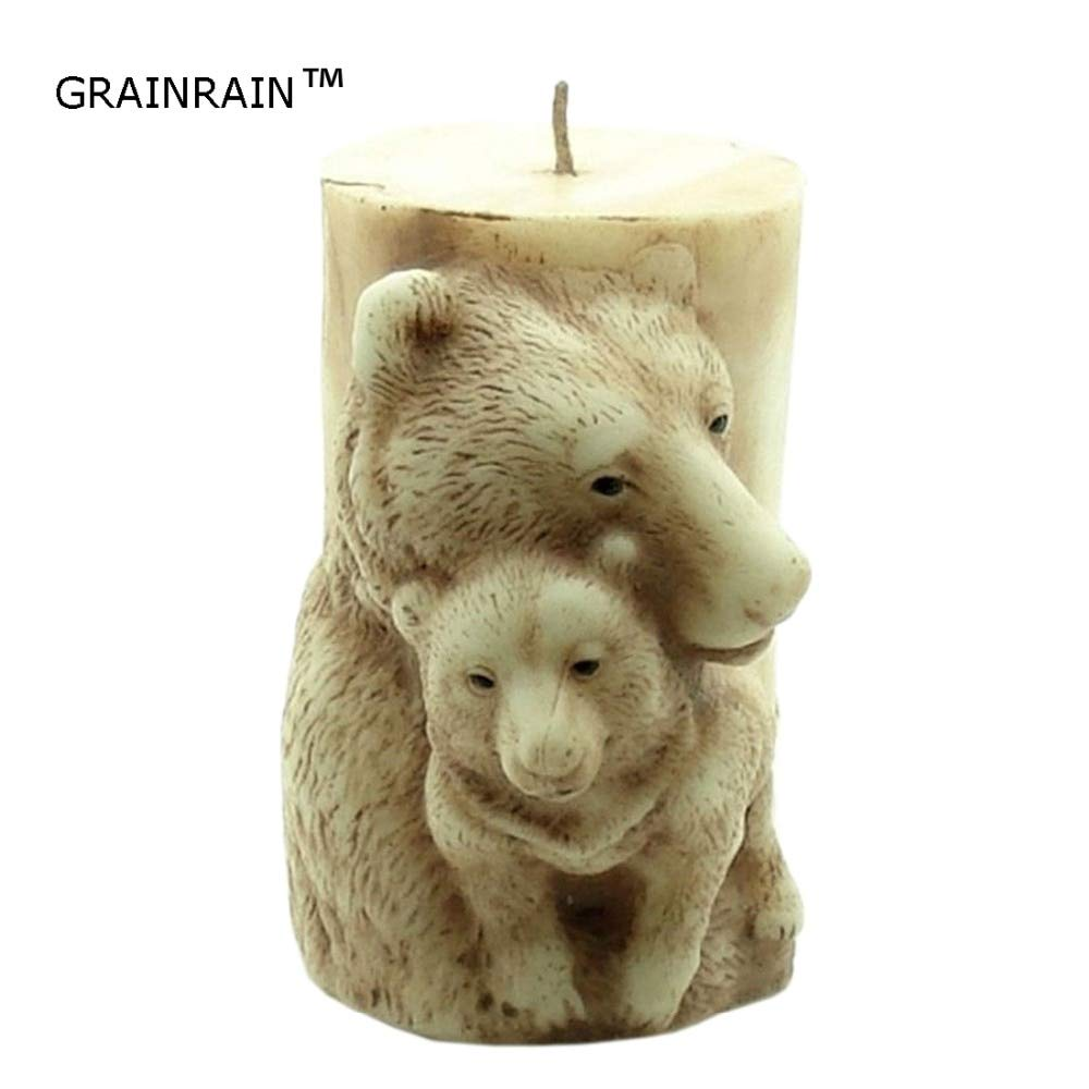 Candle Molds Grainrain 3D Candle Molds Silicone Soap Mold Bear DIY Handmade Craft Wax Clay Resin Moulds
