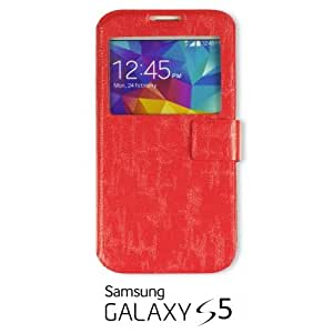 OnlineBestDigital - Premium Quality Flip S View Case Cover for Samsung Galaxy S5 - Red with 3 Screen Protectors