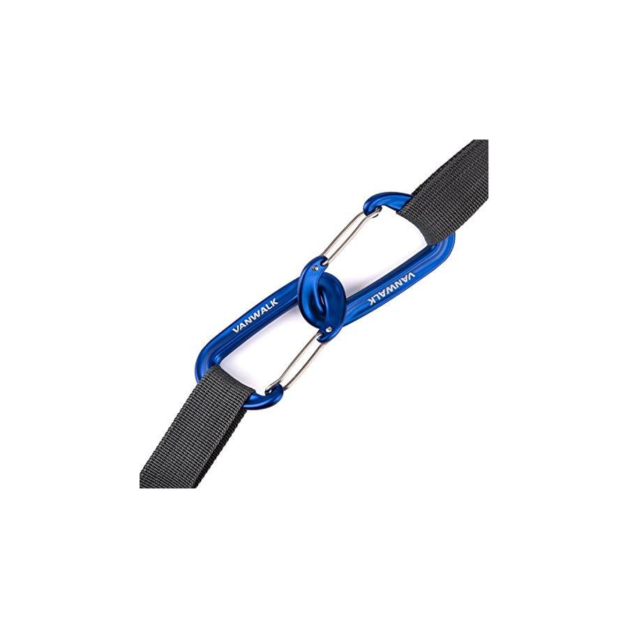 VANWALK Aluminium 12KN Wiregate Carabiners Rated 2645 LBS Each Heavy Duty Lightweight Carabiner Clips for Hammock Rocking Camping