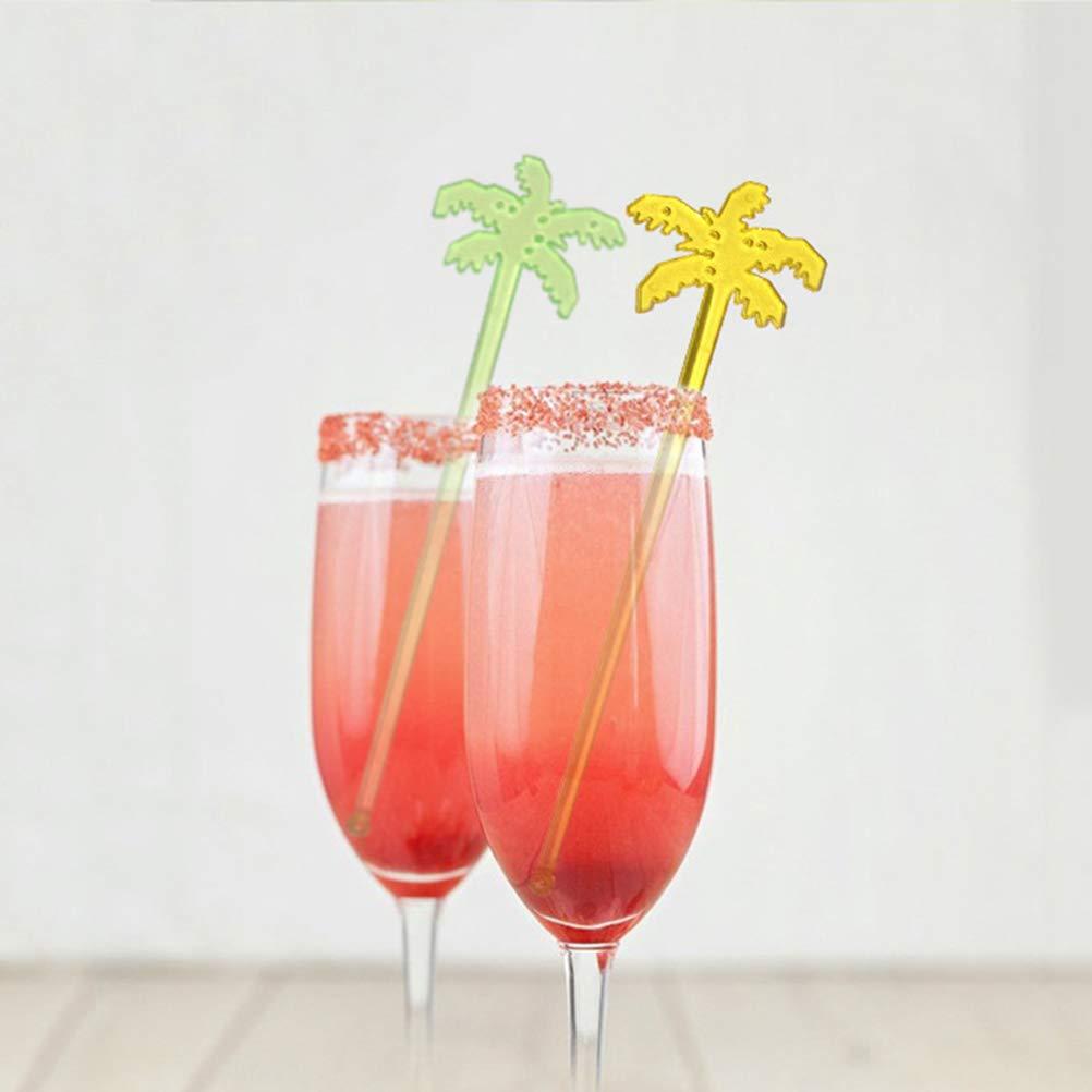 BESTONZON 50 Pcs Coconut Tree Stir Sticks Plastic Swizzle Sticks Coffee Beverage Drink Stirrers Mixed