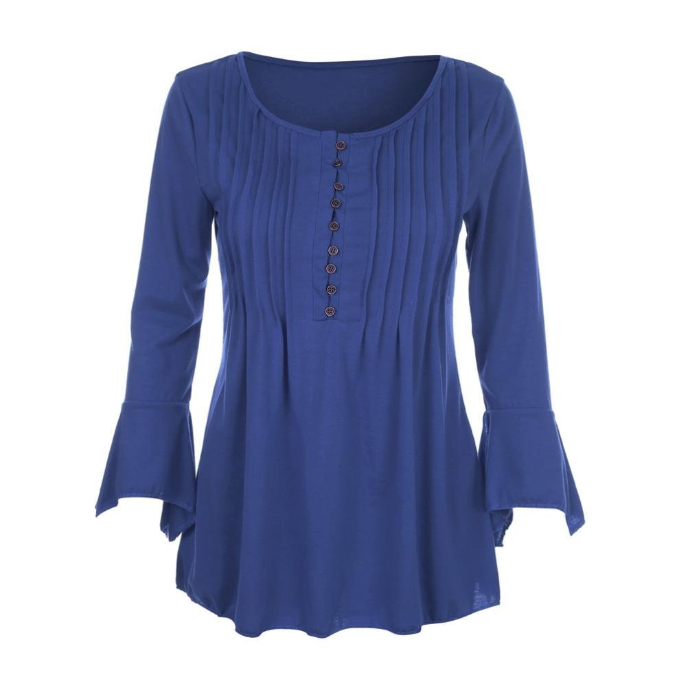 KaiCran Sweatshirt For Women Flare 3/4 Sleeve V Neck Buttons Blouse Tops Ladies T-Shirt Tunic Tops (Blue, Large)