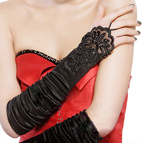 - Aibearty Women's Floral Embroidery Lace Gloves, Formal Banquet Party, Bride Fingerless Stain lace Wedding gloves