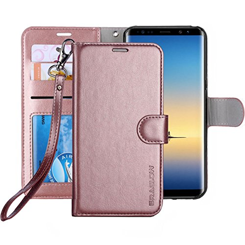 Galaxy Note 8 Case, ERAGLOW Luxury PU Leather Wallet Flip Protective Case Cover with Card Slots and Stand for Samsung Galaxy Note 8 (Rose Gold)