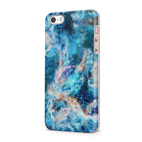 uCOLOR Compatible for iPhone 5S Case,iPhone 5 Case,iPhone SE Case Turquoise Nebula Marble Dual-Layer Hard Back+Flexible TPU Protective Cover for iPhone SE/5S/5 (Blue Hard Case Snap)