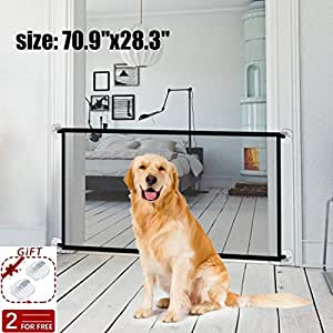 "Magic Gate Pet Gate for Dogs,70.9""x28.3"" Black Portable Mesh Folding Safety Fence, Pet Isolation Net,Dog Gate for House Indoor Stair/Doorway Use"