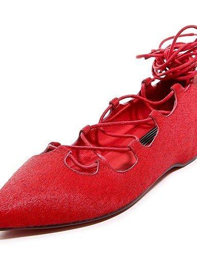 cavallo Donna Rosso Di caviglia Formale Cinturino di Nero Ballerine pelle Scarpe A Piatto punta Crine ShangYi Red alla q5B6x6