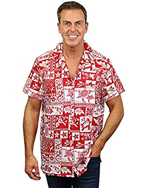 Funky Hawaiian Shirt Men Short-Sleeve Front-Pocket Block Puzzle Multiple Colors