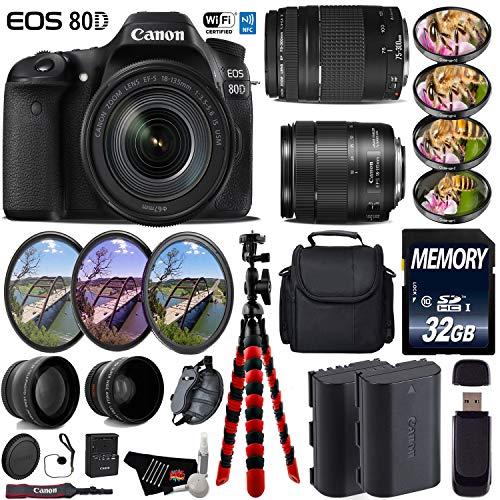 Canon EOS 80D DSLR Camera & 18-135mm is STM Lens & 75-300mm III Lens + UV FLD CPL Filter Kit + 4 PC Macro Kit + Wide Angle & Telephoto Lens + Case + Tripod + Card Reader- International Version -  6Ave