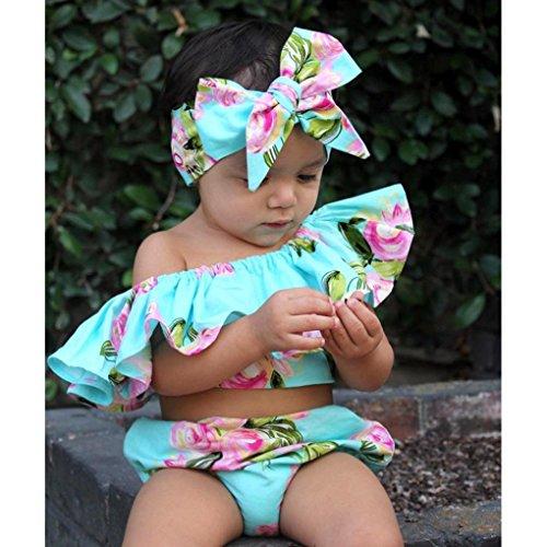 Price comparison product image WensLTD Toddler Floral Baby Girl Off Shoulder Ruffle Romper Shorts Summer Outfits Set (2T, Blue)