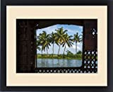 Framed Print of Coconut trees seen from cruise boat in Backwaters, Kerala, India