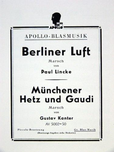 Berliner Luft / Münchener Hetz und Gaudi: Marsch. Blasorchester. Stimmensatz. (Chapman & Hall/CRC Pure and Applied Mathematics)