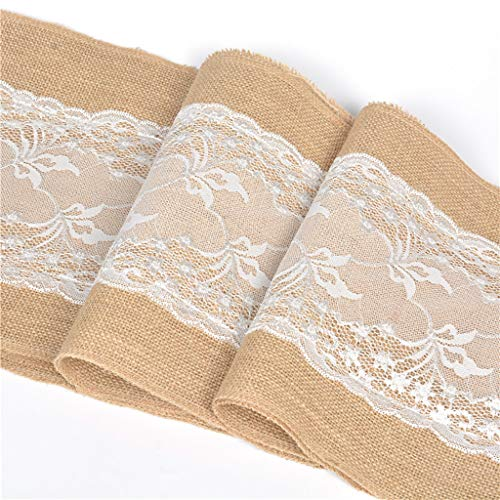 (WONdere Burlap Cream Lace Hessian Table Runner Jute Rustic Spring Easter Decor Country Wedding Party Decoration Thanksgiving Table Decorations)