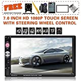 Double Din Car Stereo in-Dash BT Touch Screen 7 inch with Rear-View Camera,Video MP5/4/3 Player, Radio FM, Car Stereo Receiver, Support Steering Wheel Remote Control, Mirror Link,SARCCH