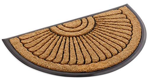 Kempf Coco Fiber Half Round in-Laid Doormat 18 x 30 Inch 1/2 Round Door Mat
