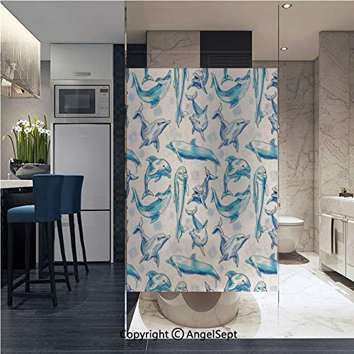 AngelSept Window Film Door Sticker Glass Film Sketch of Bottlenose Dolphins Playing Laughing in Ocean Life Print Both Suitable for Home and Office, 22.8 x 35.4 inch,Turqouise White
