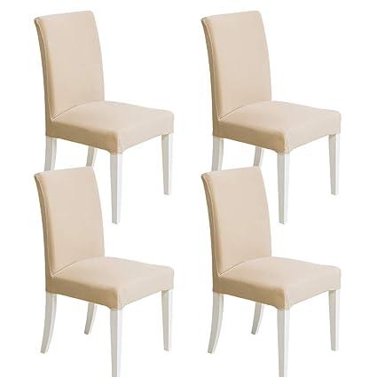 MIULEE Pack de 4 Fundas para Sillas Gránulos Comedor Fundas Elásticas Modernas bielástico Extraíbles y Lavables Funda Cubiertas para sillas Beige