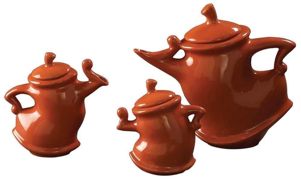 Howard Elliott 1886 Whimsical Decorative Tea Pots, Russet Orange Brown, 3-Piece