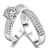 DINGFASHION Fashion Pair of Couple Ring,Double Row Cubic Zirconia with a Big Diamond