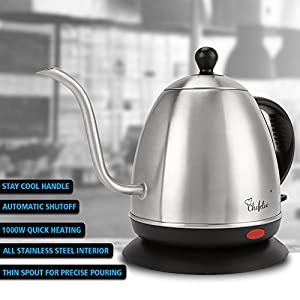 Chefelix 1L Stainless Steel Electric Gooseneck Kettle, Drip Kettle, 1000W Fast Heat Up and Automatic Shutoff