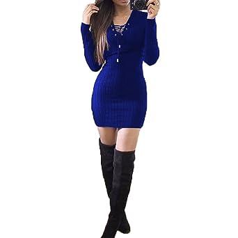 Vestidos Mujeres Sexy Escote V Manga Larga Señoras Tejer Estafa Cuerpo Vestido Jumper Invierno Mini Vestido Fiesta Vestidos Cortos Club Robe Gris Negro ...