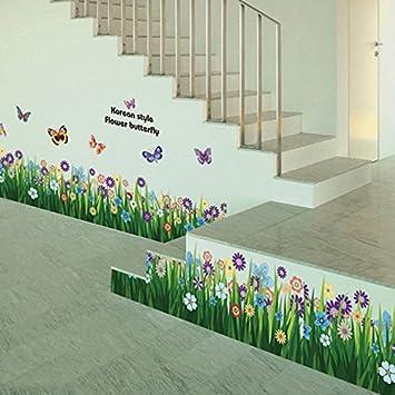La Cabina Stickers Muraux Papillon Herbe Fleur Autocollants Amovible