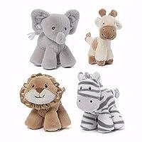 Gund Safari Rattle - elephant, giraffe, zebra, and lion (set of 4)