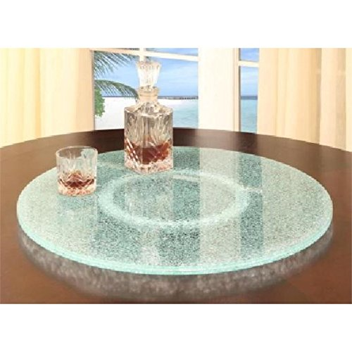 Chintaly Imports Lazy Susan Rotating Tray with Sandwich Glass, 24-Inch, Clear Glass/Sandwich