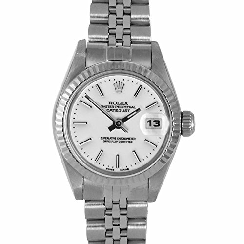 Rolex Ladies 26mm Ladies Datejust Watch - 6917 Model - Stainless Steel - White Stick Dial - Fluted Bezel - Jubilee Band