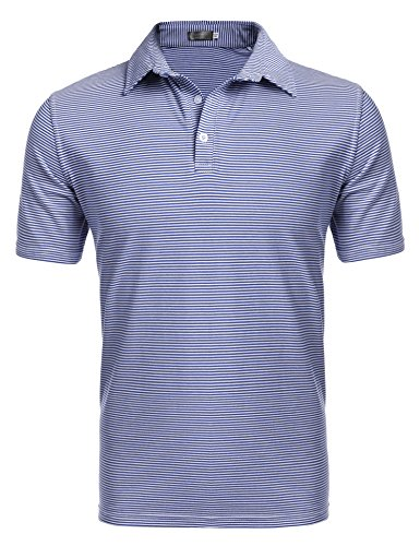 Coofandy Mens Mini Stripe Short Sleeve Polo, Small, Blue