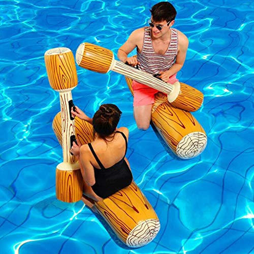 Luonita 2 Pcs Set Inflatable Floating Row Toys Children Adult Inflatable Water Joust Tree Log Pool Float Game Set Ride on Log, Inflatable Toys, Water Toys, Outdoor Fun Sports, Gladiator Raft