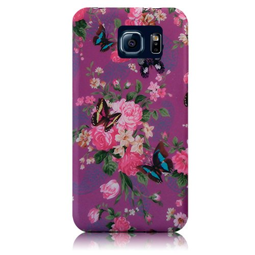 Xtra-Funky Exclusivo silicona suave Remolino floral de la flor y las mariposas de color rosa / negro caja Para Samsung Galaxy S6 - Diseño B7 B30