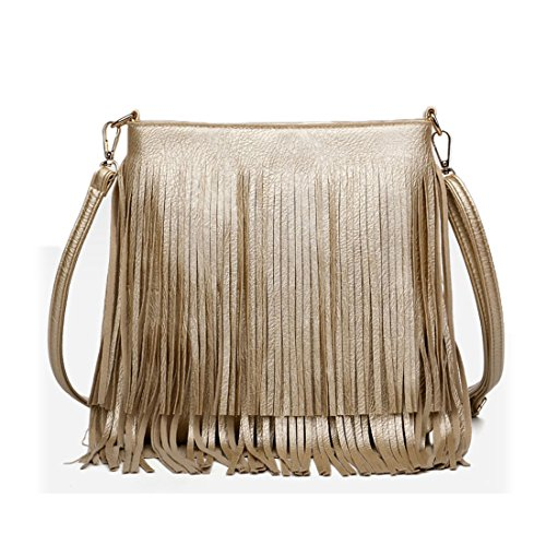 Body Womens Gold Fringe Cross Shoulder Bags SUI Gold Hobo Tassel Leather LUI YAx5wvq