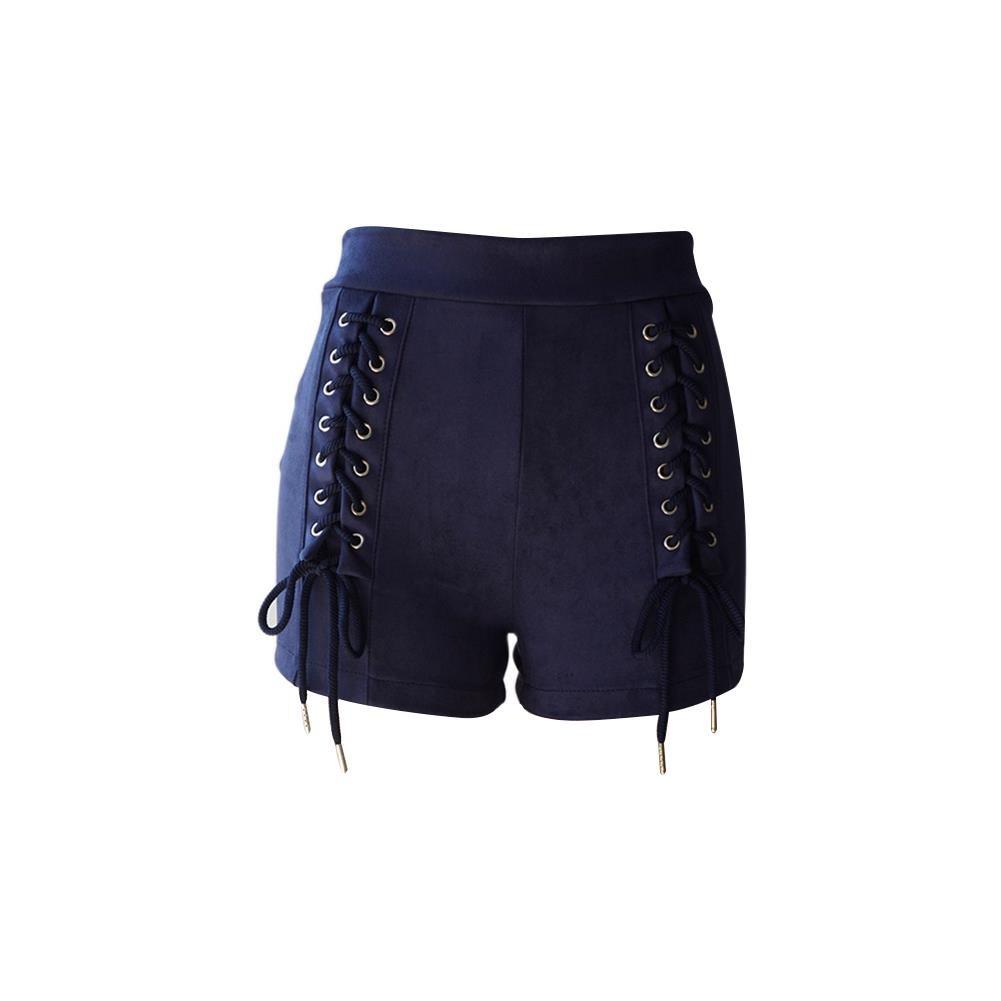 NJunicorn Uncle Women Faux Suede Shorts Lace-Up Bandage High Waist Solid Slim Hot Pants