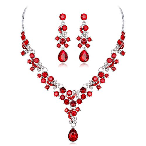 YINLI Austrian Crystal Y-Shaped Flower Teardrop Necklace Earrings Set Jewelry for Bridal Wedding (Red)