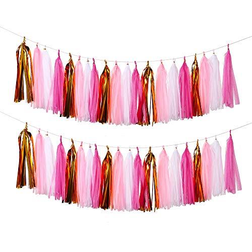 Bromose 20 PCS DIY Tissue Paper Tassel Party Garland,Fringe Garland Nursery Banner for Wedding, Baby Shower, First Birthday, Event & Party Decor (2 -