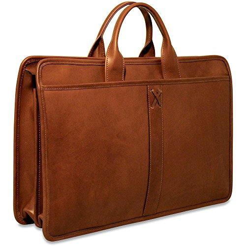 CrookhornDavis Men's American Bullhide Leather Double Gusset Top Zip Briefcase, Cognac