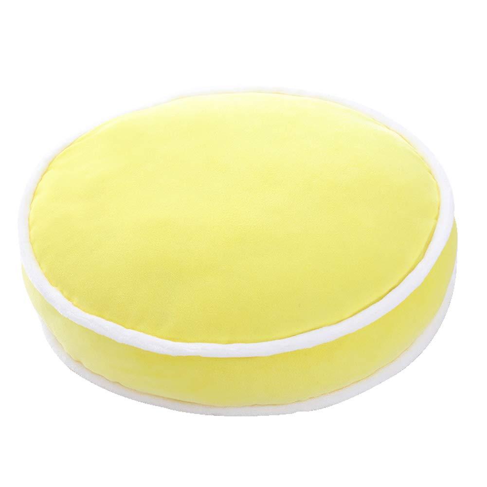Gardening Spring-Plush Pillows Japanese Style Short Velvet Round Pillow Three-Dimensional Cushion Sofa Macarons Home Throw Pillow Candy Color Office Lumbar (Yellow)