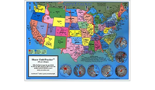 2001 CodeTracker Area Code Map : area codes of US, Canada and parts ...