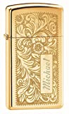 Personalized Zippo Venetian Slim High Polish Brass Lighter with Free Engraving