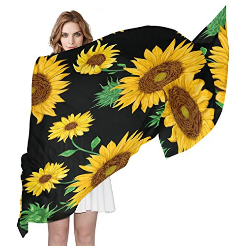 XLING Fashion Scarf Floral Flower Sunflower Summer Long Lightweight Sunscreen Silk Scarf Shawl Wrap Muffler Neckerchief for Women Men (Mens Floral Scarf)